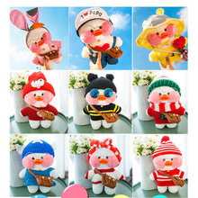 INS Lalafanfan CafeMimi  Cute Soft Stuffed Animal toys Yellow Pink White Dress Duck Plushie Dolls For Baby Gift 60 Styles