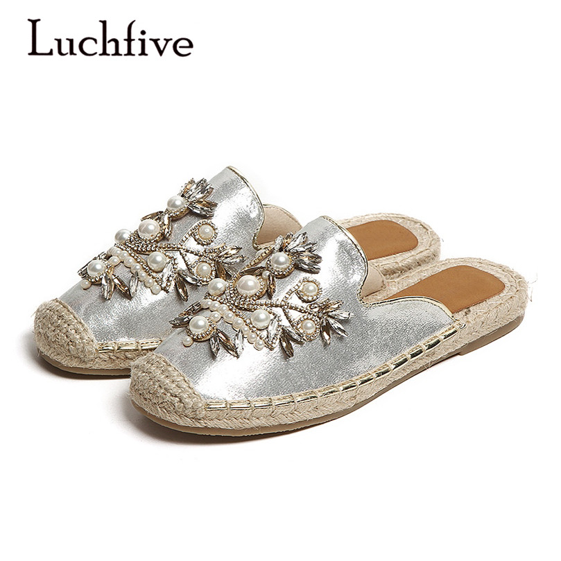 02c86ed84eee04 Flat Woman Slippers Pearl Jewel Loafer Shoes Closed Toe Microfiber Leather  Sandals New Fashion Shoes Casual Women Slippers