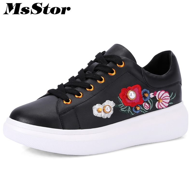 MsStor Round Toe Cross tied Women Flats Casual Fashion Ladies Flat Shoes 2018 Spring Crystal Embroider Flower Women's Flat Shoes цена