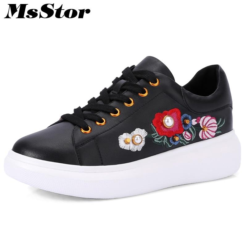 купить MsStor Round Toe Cross tied Women Flats Casual Fashion Ladies Flat Shoes 2018 Spring Crystal Embroider Flower Women's Flat Shoes недорого