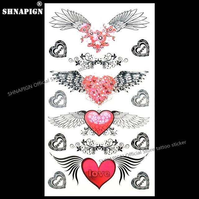 Shnapign Ange Ailes De Coeur D Amour Tatouage Temporaire Body Art