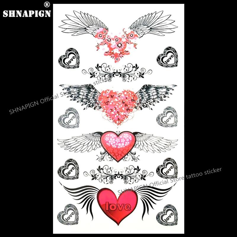 SHNAPIGN Angel Wings Love Heart Temporary Tattoo Body Art Arm Flash Tattoo Stickers 17*10cm Waterproof Fake Henna Painless