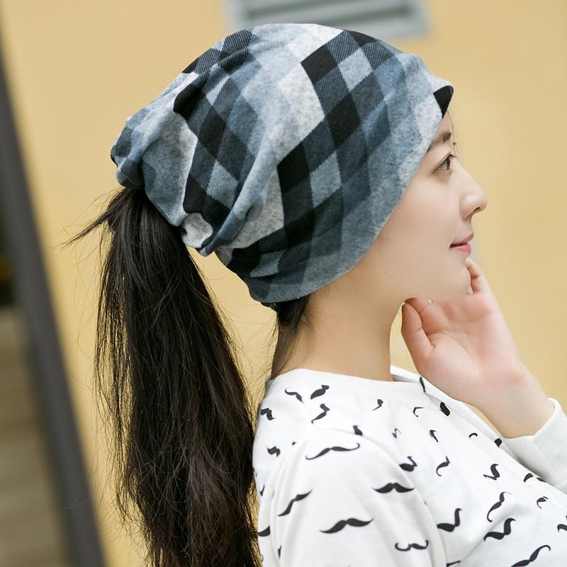 Women Girls Brand New Winter Autumn Rhomb lattice Shaped Hip-hot Skullies  Beanies Cotton Warm 9cda8d4dd7f3