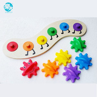 Baby Wooden Toys Puzzle 35CM Kids Colorful Gear Caterpillar Toys Wooden Toy Educational Toys Wood Intelligence