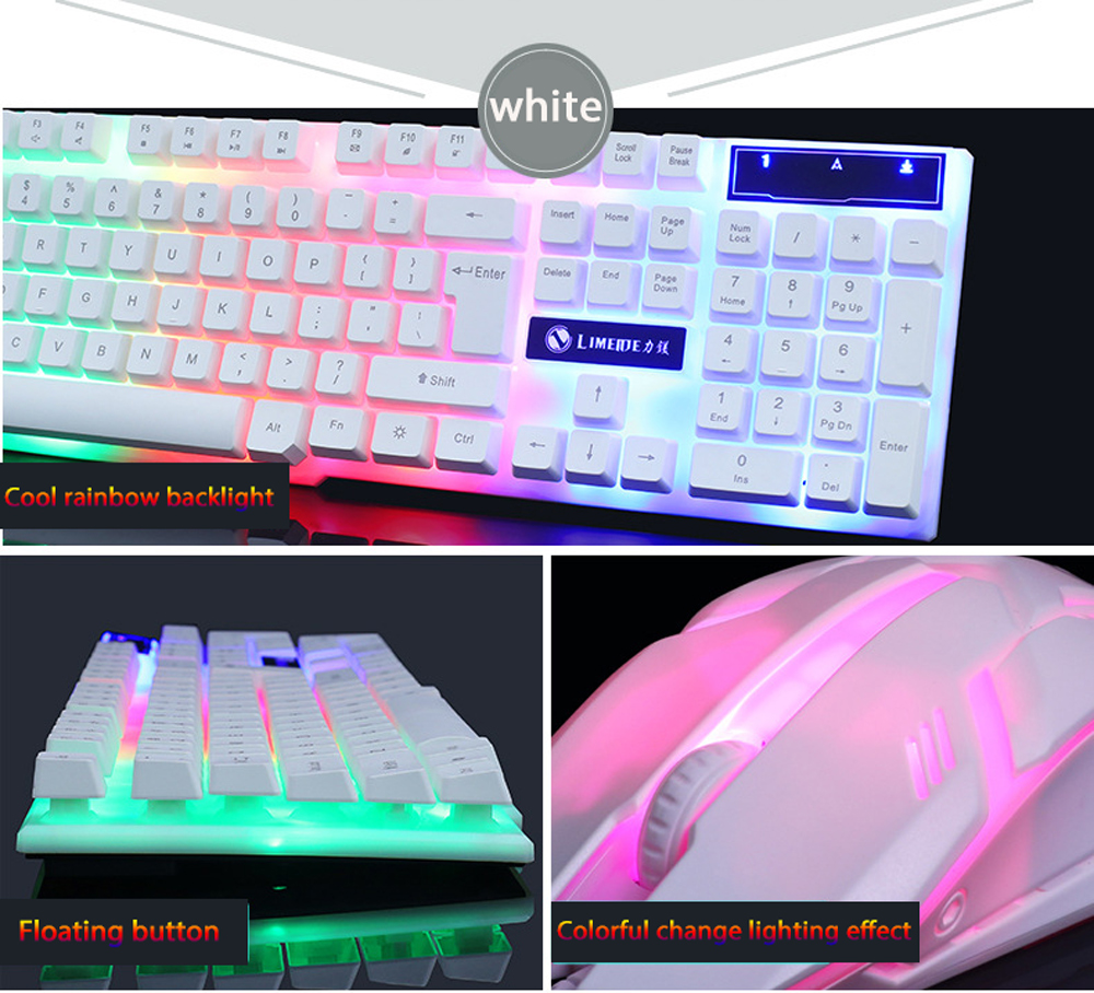 sliver keyboard rinbow backlight with mouse