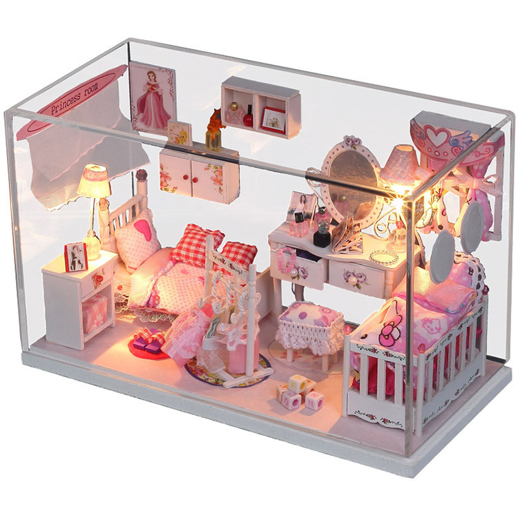Toys & Hobbies Doll Houses Q002 Diy Wooden Doll House Living Room With Furniture Model Building Kits 3d Miniature Dollhouse Toy Latest Fashion
