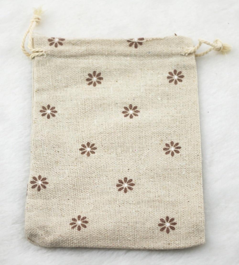 10x14cm Brown Flower Vintage Cotton Burlap Jute Favour Candy Gift ...