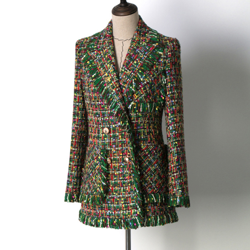 Green tweed jacket long section  Double-breasted Spring / Autumn women's Coat new ladies was thin jacket Coat