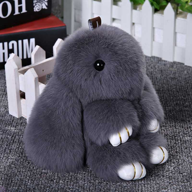 18cm Hare Bunny Key Chains Fluffy Rabbit Fur Keychain Pompons Pendants Baubles For Women Handbags Backpack