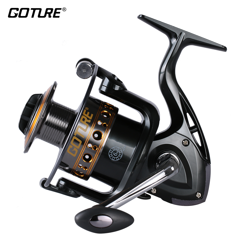 Goture Gapless Spinning Reel 6 + 1BB fém tekercses tekercses tekercs GT-V 1000/2000/3000/4000/7000 Rock Wheel Fresh Water Fishing Reels