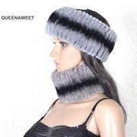 004 2019 Fashion Winter Women Scarf Floral Soft Rex Rabbit Fur Knitted Scarves hair scarf winter warm fur ring headband