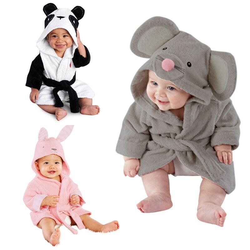 Cute Cartoon Animal Design Baby Bathrobe Infant Girl Boy Cotton Hooded Bath Towel Wrap Children Bathing