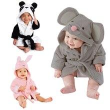 Mignon de Bande Dessinée Conception Animale Bébé Peignoir Infantile Fille Garçon Coton À Capuchon Serviette De Bain Wrap Enfants Baignade Robe Vêtements