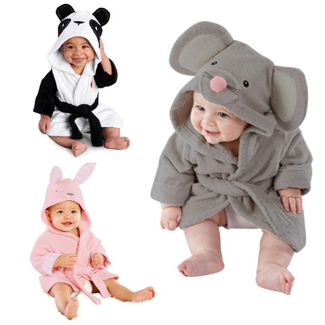 639a857d93 Cute Cartoon Animal Design Baby Bathrobe Infant Girl Boy Cotton Hooded Bath  Towel Wrap Children Bathing Robe Clothes