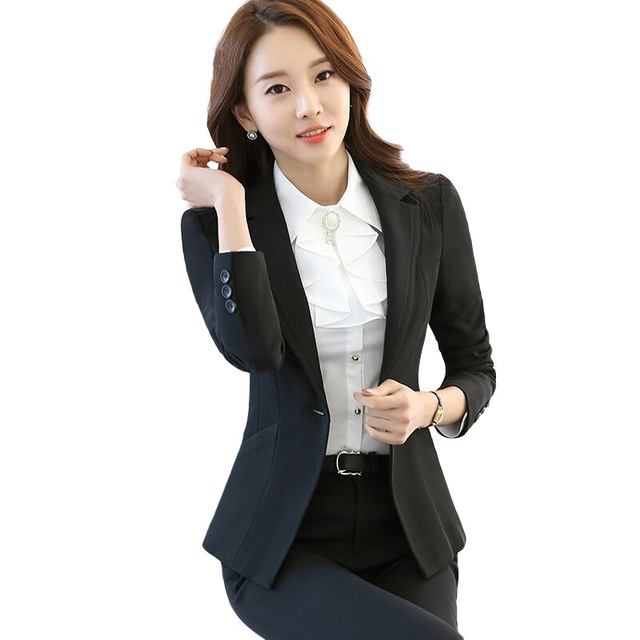8c015dc050b99 Business women pants suits set fashion formal long sleeve interview blazer  with pants office lady plus size work wear-in Pant Suits from Women s  Clothing on ...