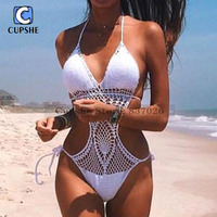 CUPSHE 2016 New Style Women S Sexy Crochet Beach Swimsuit Monokini One Piece Bikini Swimwear