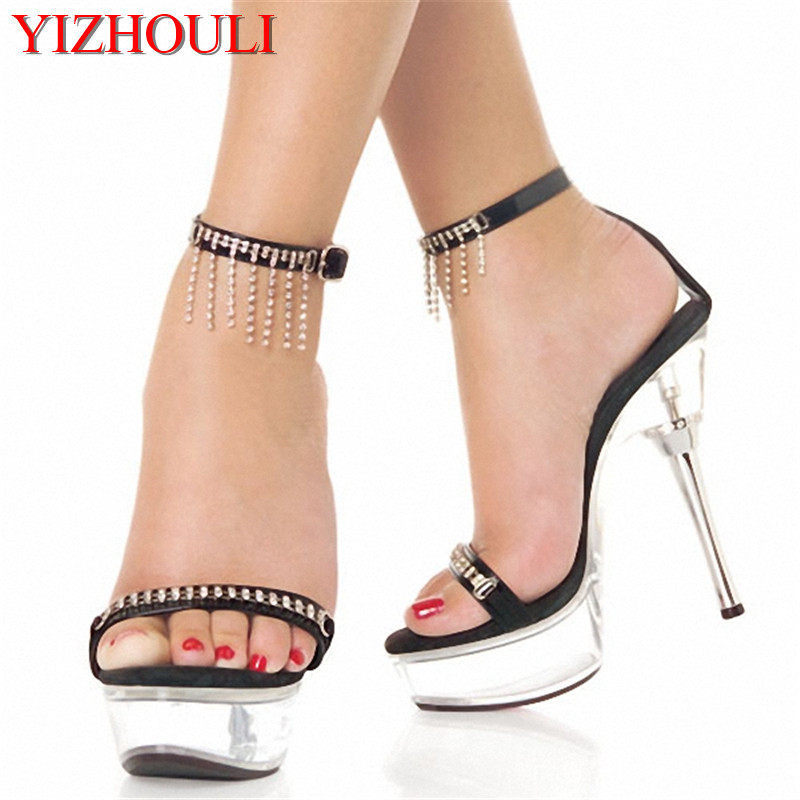Stylish Crystal 14CM Sexy Super High Heel Platforms Pole Dance / Performance / Star / Model Shoes, Wedding Shoes 15cm sexy super high heel platforms pole dance performance star model shoes wedding shoes crystal shoes