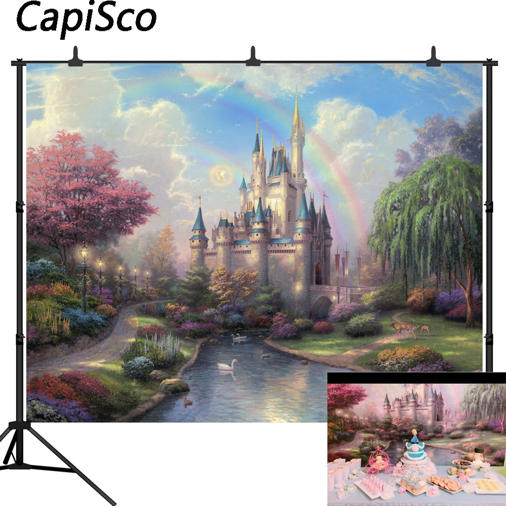 Capisco Fairy Tale Photography Background Castle Rainbow Newborn Children Birthday Party Baby Shower Backdrops For Photo Studio