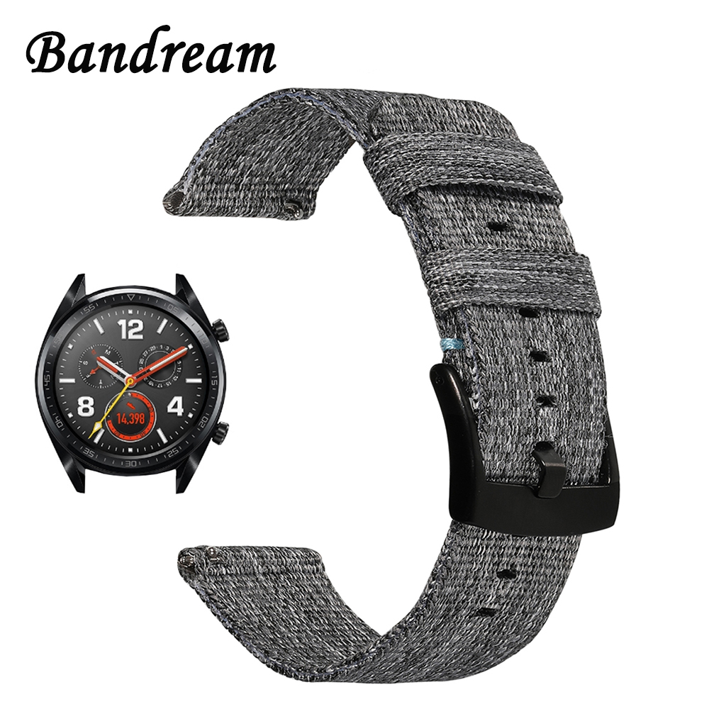 Canvas Nylon Watchband for Huawei Watch GT Quick Release Band Stainless Steel Clasp Strap Wrist Bracelet Wristband Black GreyCanvas Nylon Watchband for Huawei Watch GT Quick Release Band Stainless Steel Clasp Strap Wrist Bracelet Wristband Black Grey