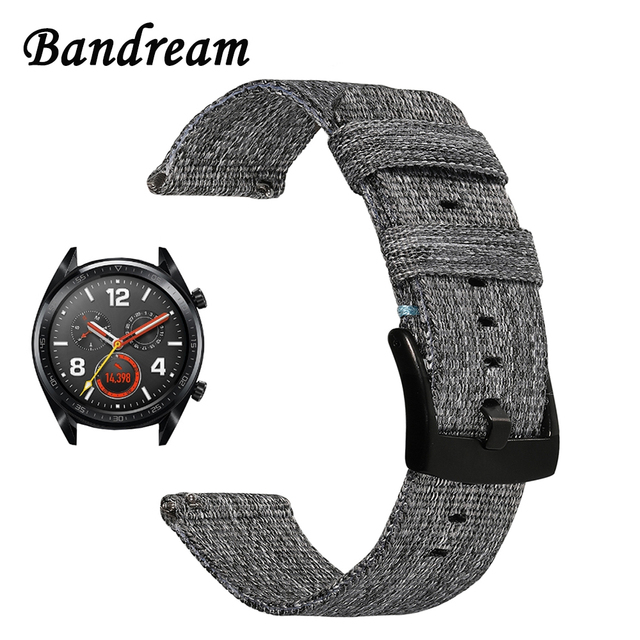 Canvas Nylon Watchband for Huawei Watch GT Quick Release Band Stainless Steel Cl