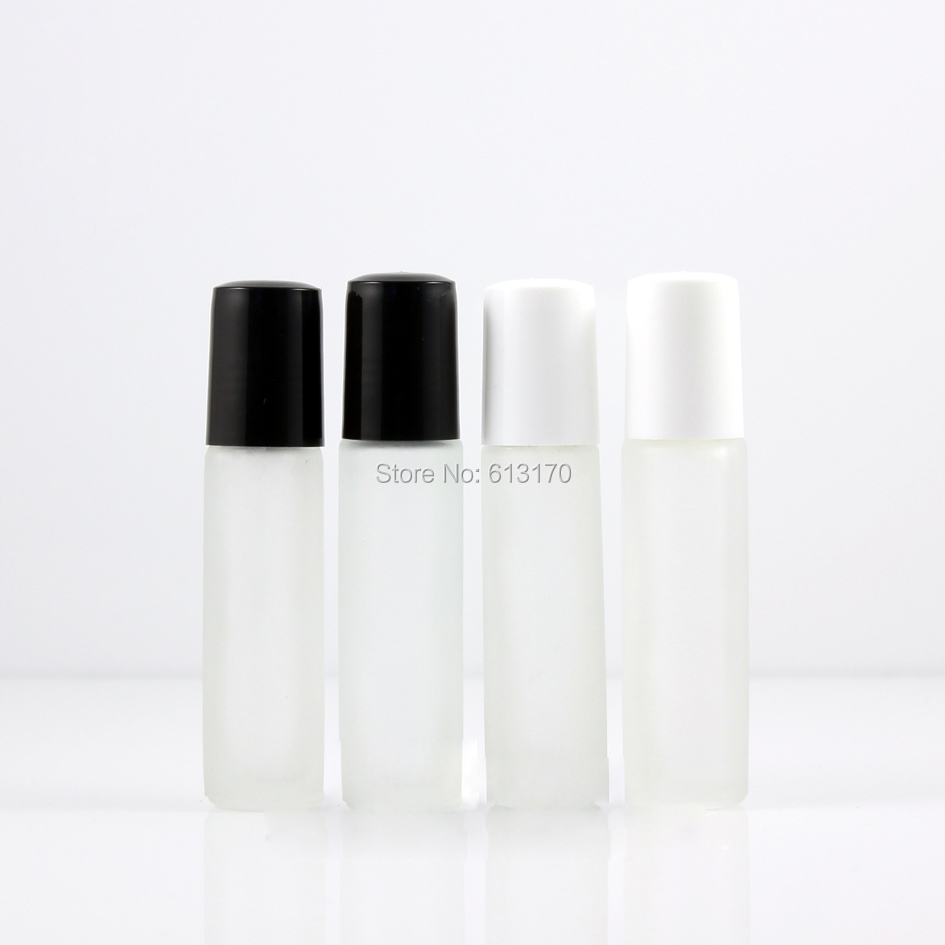 202b891d2804 US $52.88 |8ml,10ml Glass Roll On bottle Frosted clear Empty Essential Oil  Bottle Black,White Lid Mini Small sample vial Metal Glass Roller-in ...