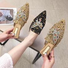 2019 Women Rhinestone Mules Shoes Woman Flat Crystal Slippers Brand Designer Pointed Toe Slip On Mules Casual Outdoor Flip Flops недорого