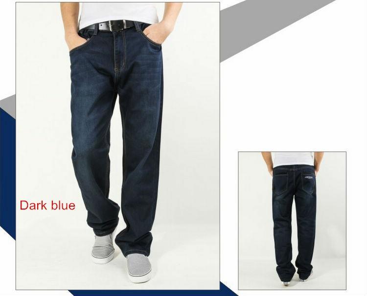 Бесплатная доставка мужчины широкий джинсы синий 30-48 большой размер, удобные высокой талией свободного покроя мужские брюки # jm09442