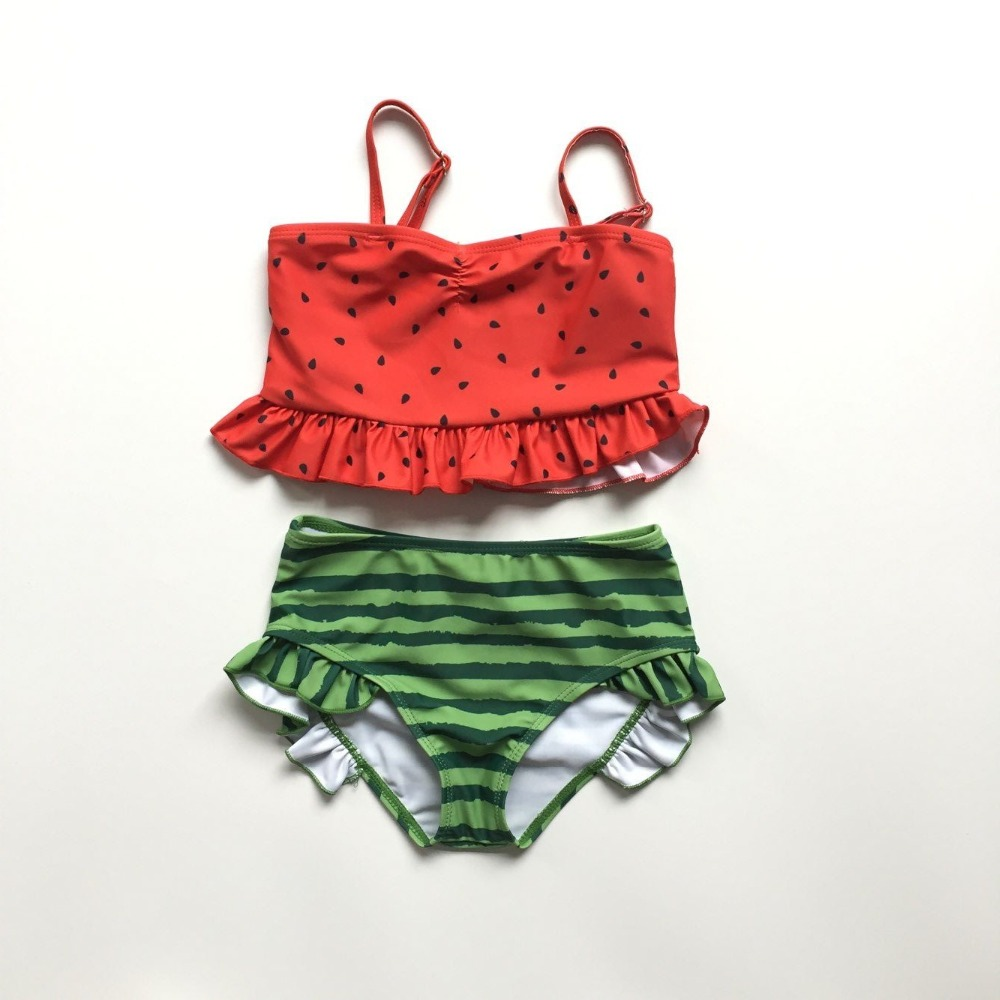 Baby Girls Swimsuit Watermelon Style Swimsuit Red Sun-top Green Swimming Trunks Baby Kids Boutique Clothes Hot Swimsuit