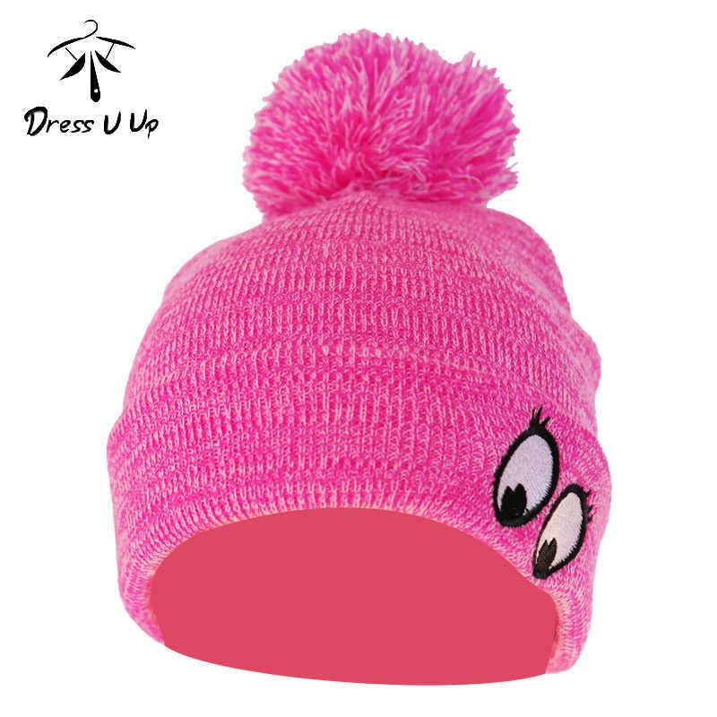 DRESSUUP Winter Hat Child Winter Children's Knit Hat Windproof Warm Ball Eyes Striped Wool Pompones Cap