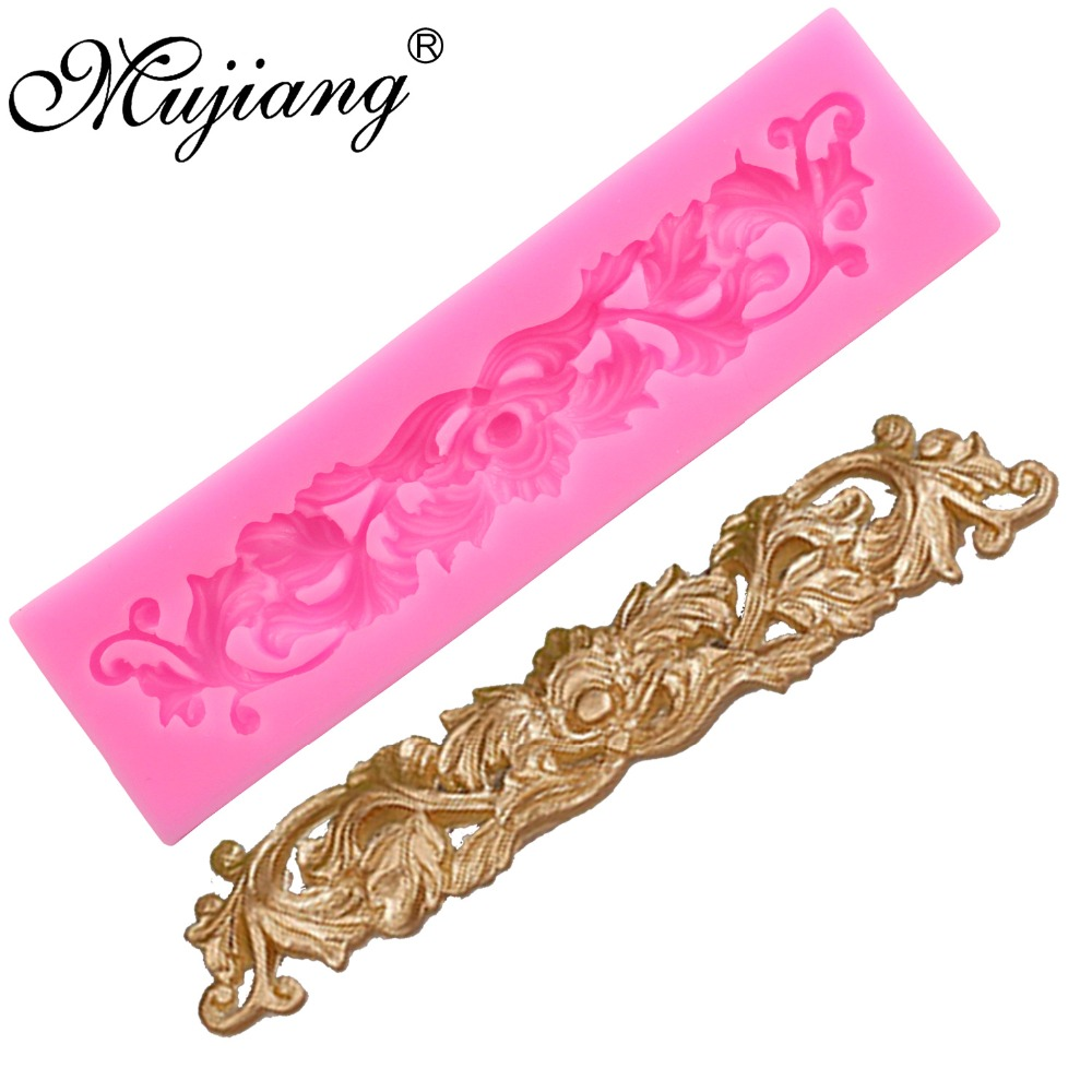 Mujiang Diy Leaf Lace Silicone Molds Gum Paste Chocolate Fondant Sugarcraft Cake Border Decorating Tools Kitchen Baking Moulds Excellent In Quality