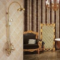 Ql2001 все Медь золотой Лебедь душ, горячей и холодной воды три Функция Ванная комната набор для душа Лебедь Золотой уникальный дизайн
