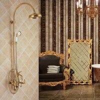 Ql2001 All Copper Golden Swan Shower Set, Hot And Cold Water Three Function Bathroom Shower Set Swan Golden Unique Desgin
