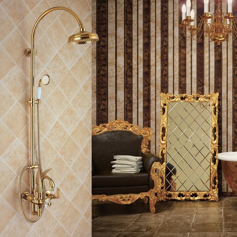 Ql2001 ensemble de douche cygne doré en cuivre, eau chaude et froide ensemble de douche de salle de bain trois fonctions cygne or design Unique