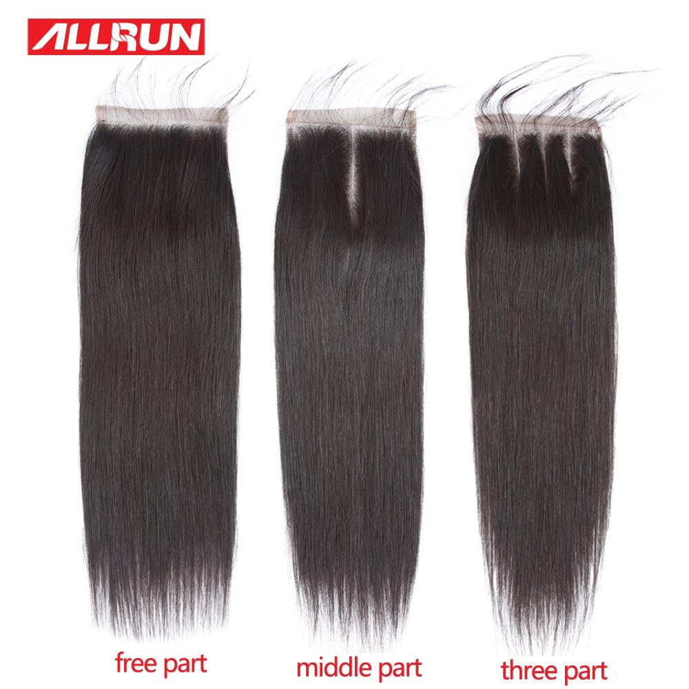 ALLRUN 4 * 4 Rett brasiliansk hårspetslåsning Olika storlekar 10 - Mänskligt hår (svart) - Foto 1