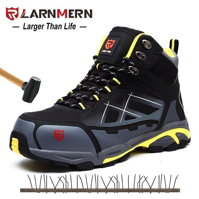 LARNMERN Erkek iş çizmeleri Çelik burunlu güvenlik ayakkabıları S1P Açık Güvenlik Ayakkabı SRC kaymaz anti-statik Delinme Dayanıklı