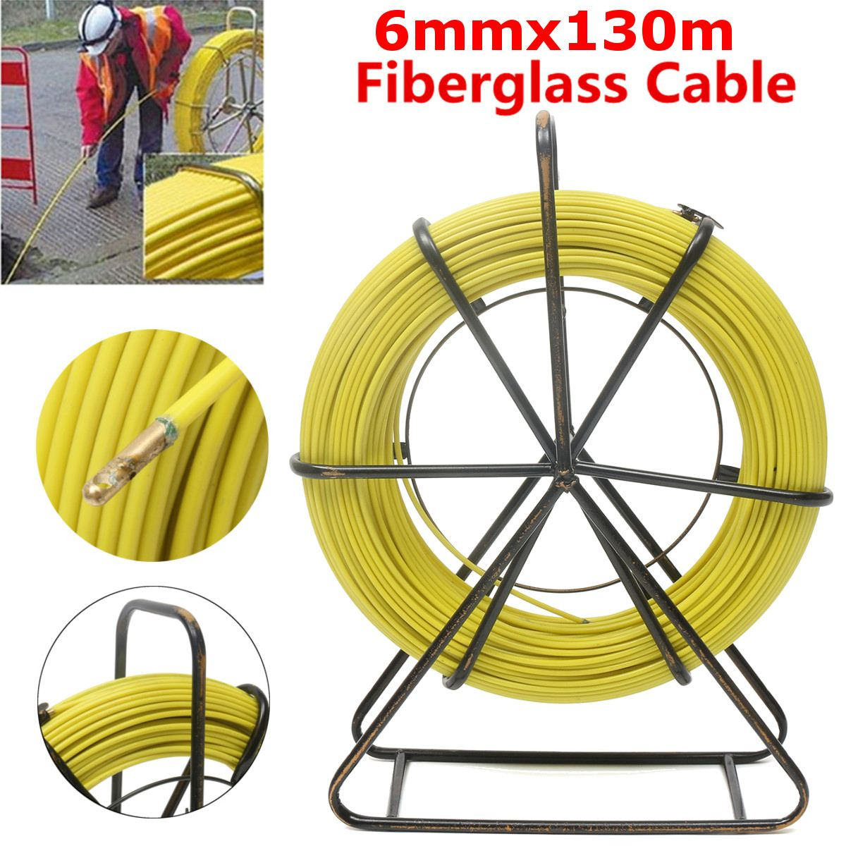 6mm 130M Fiberglass Wire Cable Running Rod Snake Fish Rodder Puller Flexi Lead Electric Fiberglass Wire Cable Running Rod Puller6mm 130M Fiberglass Wire Cable Running Rod Snake Fish Rodder Puller Flexi Lead Electric Fiberglass Wire Cable Running Rod Puller