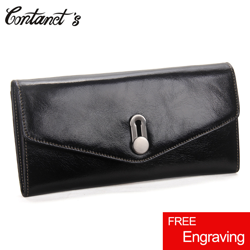 Contact's Fashion Women Wallets Genuine Leather Female Clutch Bag For Cellphone High Capacity Ladies Passport Purse Card Holder top brand genuine leather wallets for men women large capacity zipper clutch purses cell phone passport card holders notecase