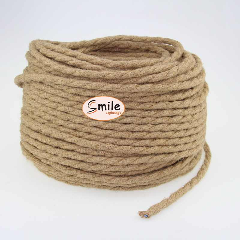 3m 5m 10m 2 Core 0.75mm2 Hemp Rope Twisted Cable Vintage Lamp Cord Retro Style Light Electrical Wire
