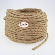 Cuerda trenzada de cáñamo 3m 5m 10 metros Cable de lámpara Vintage estilo Retro Cable eléctrico ligero