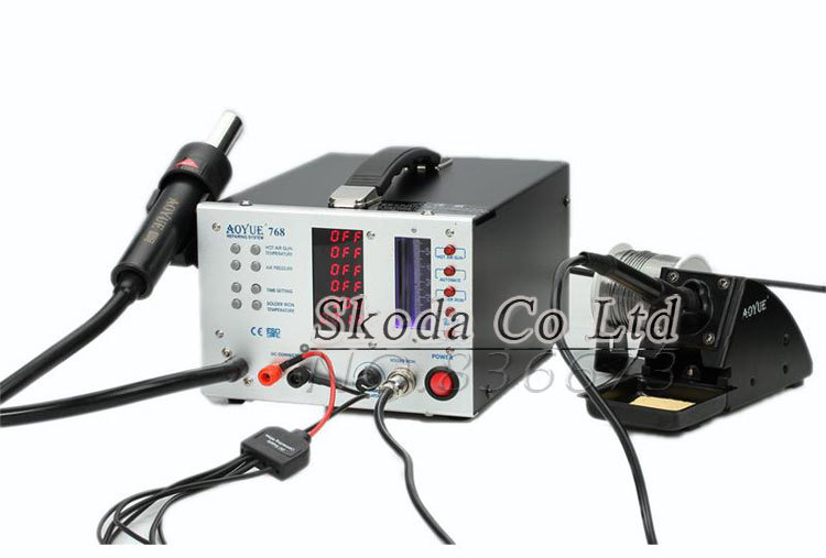 ESD Safe AOYUE 768  Repairing System digital display hot air gun + soldering station + Mobile DC Power Supply 3-in-1 System