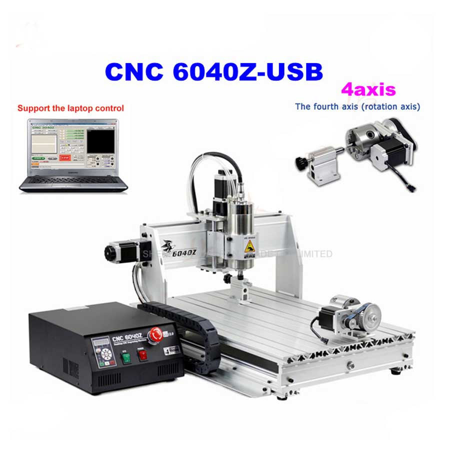 1pcs 4axis CNC Router 6040Z-USB Mach3 auto engraving machine with 1.5KW VFD spindle and USB port for hard metal 500w mini cnc router usb port 4 axis cnc engraving machine with ball screw for wood metal