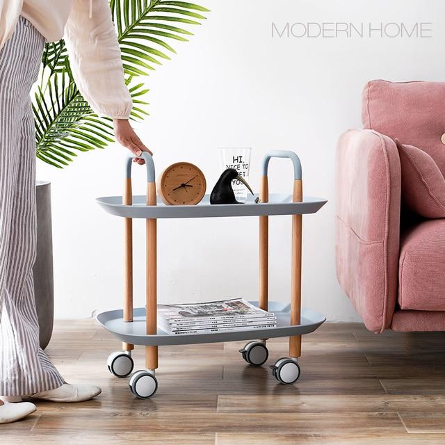 Modern Clic Loft Design Solid Wooden Metal Living Room Trolley Side Table Luxury Corner Tea Coffee Bedside Wheel 1pc