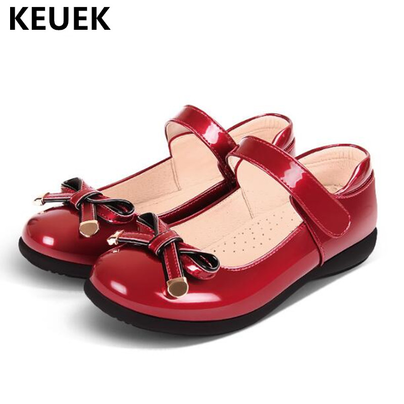 New High Quality Children Leather Shoes Girls Black Butterfly-knot Soft Bottom Princess Shoes Student Kids Shoes Baby Flats 041