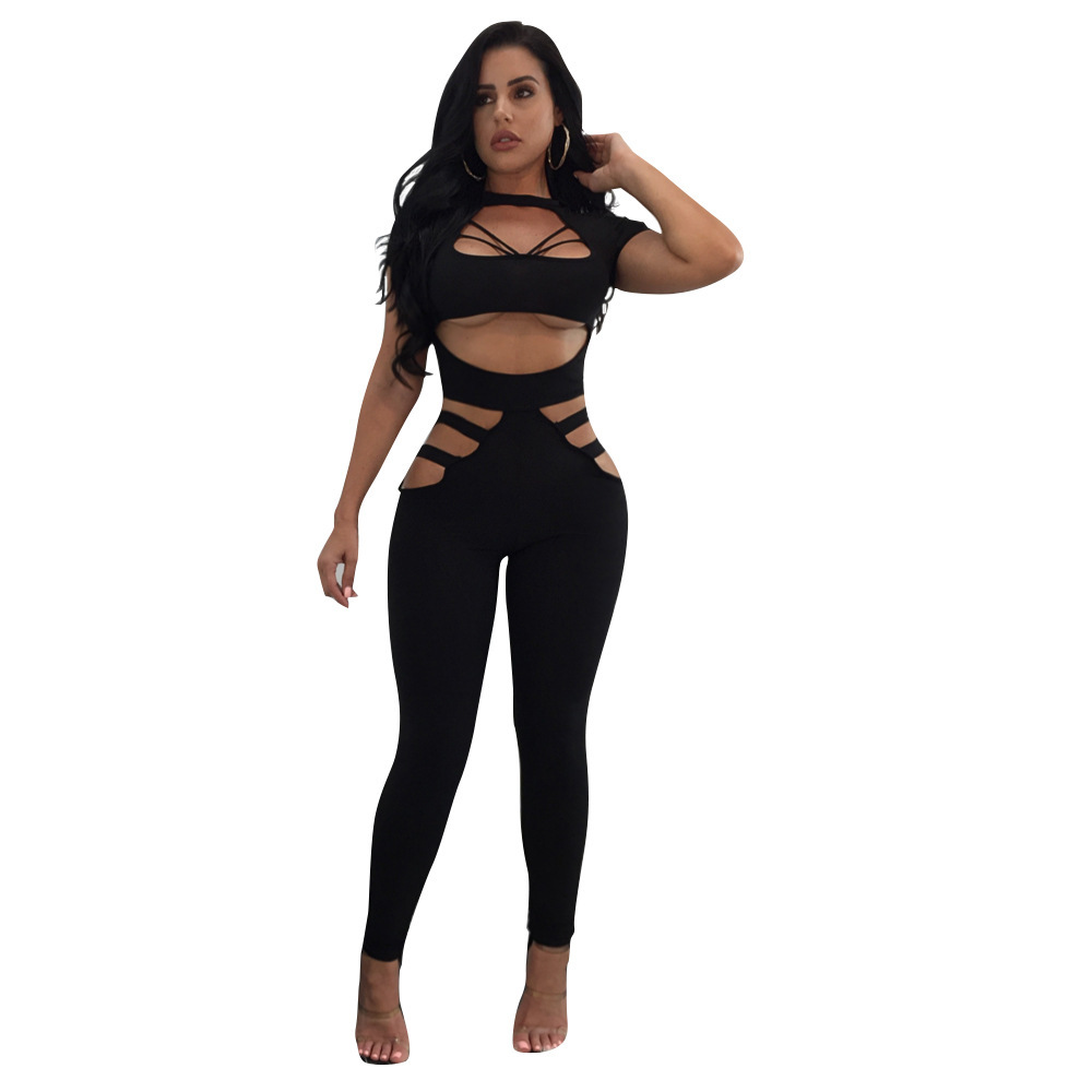 0b0a0dd331da 2019 Ladies Summer Short Sleeve Cut Out Black red Sexy Rompers Womens  Jumpsuit Bodysuit Bandage Jumpsuits