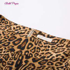 Image 4 - Belle Poque Leopard Print High Waist Skirt Pleated Midi Women Autumn Winter Flared Skirt Fashion Bow Party Skirt Gothic Vintage