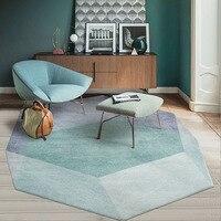 Unique irregular geometric living room rug, Nordic big size bedside carpet, green mixed decoration office carpet ,ground mat