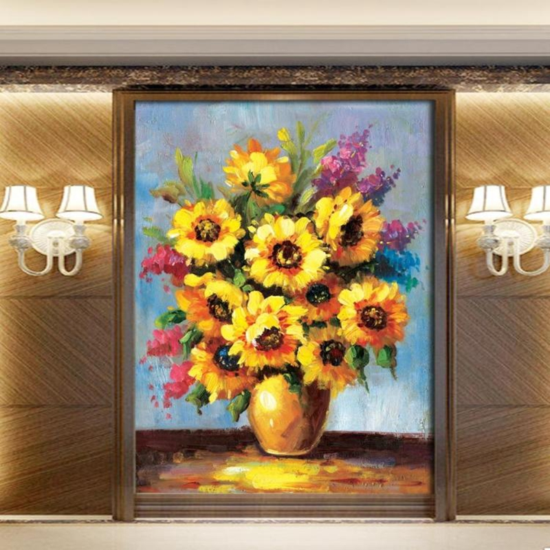 Custom Mural Wallpaper 3D Stereoscopic Oil Painting Sun Flower Wall Painting Study Bedroom Living Room Decor Photo Wallpaper ivy large rock wall mural wall painting living room bedroom 3d wallpaper tv backdrop stereoscopic 3d wallpaper
