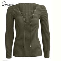 CWLSP Spring Autumn New Tie up Solid V neck Sweater Women Long Sleeve Knitted Lacing Pullovers Slim female Tops QZ1026