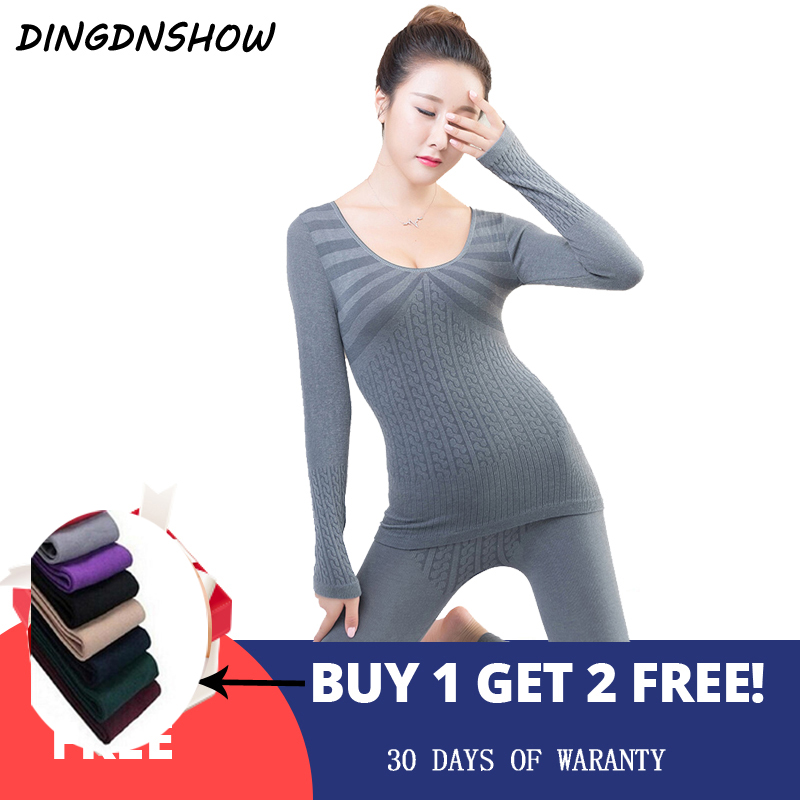 [DINGDNSHOW] 2019 Fashion Thermal Underwear Print Striped Warm Cotton Long Johns Winter Ladies Shaped Underwear Sets For Women