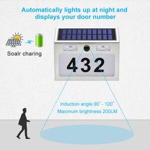 Image 3 - 5 LED חיצוני Doorplate שמש מנורת Waterproof בית מספר LED שמש אור Montion חיישן Plaue אור לבית גן דלת